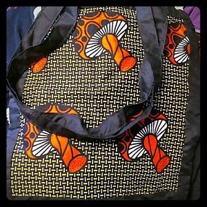 Vintage Linen Mushroom Pattern Tote Bag